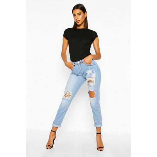 Mid Rise Relaxed Fit Open Knee Boyfriend Jeans