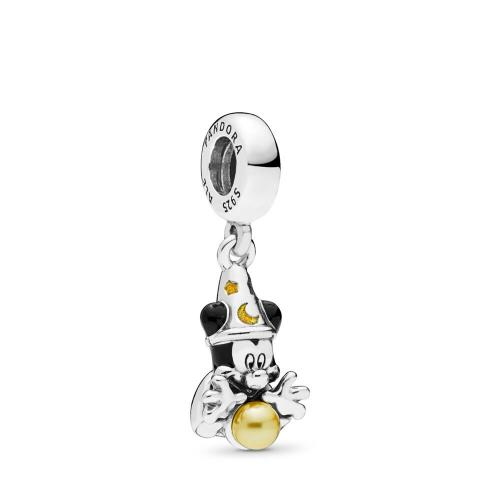 Disney, Sorcerer Mickey Dangle Charm Sterling silver, Enamel, Black, Crystal Pearl