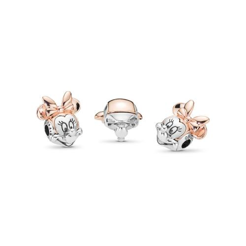 Disney, Two-tone Minnie Portrait Charm, PANDORA Rose™ PANDORA Rose with sterling silver, Silicone