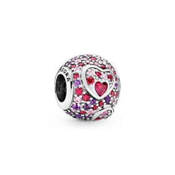 Asymmetric Hearts of Love Charm, Red & Pink CZ, Royal Purple Crystals Sterling silver, Mixed stones
