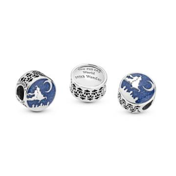 Aladdin Magic Carpet Ride Charm Authentic Sterling Silver Star Moon Bead fit Pandora Bracelet
