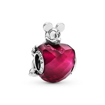 Disney, Mickey Love Heart Charm, Fuchsia Rose Crystal Sterling silver, Red, Crystal