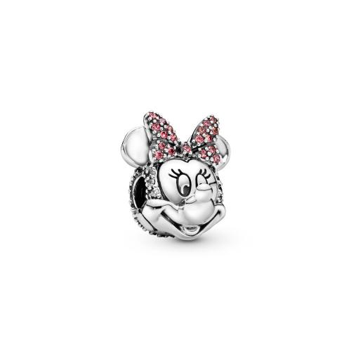 Disney, Shimmering Minnie Portrait Clip, Clear CZ & Pink Enamel Sterling silver, Red, Cubic Zirconia