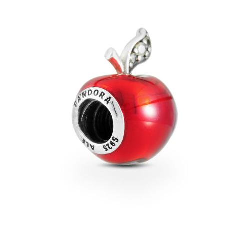 Disney, Snow White's Apple Charm, Red Enamel & Light Green CZ Sterling silver, Enamel, Green, Cubic Zirconia